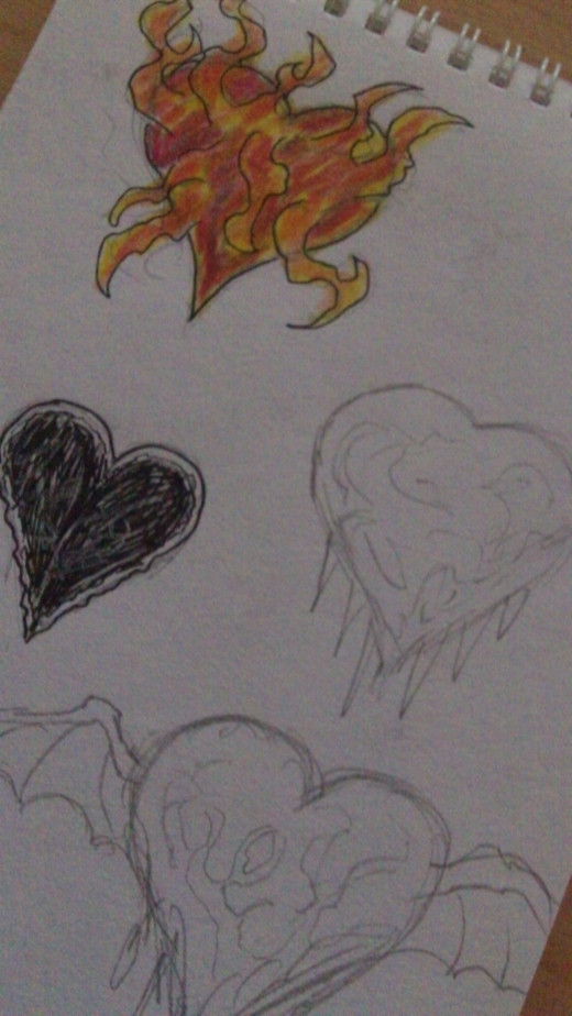 Tattoo hearts ideas. Quick heart drawings.