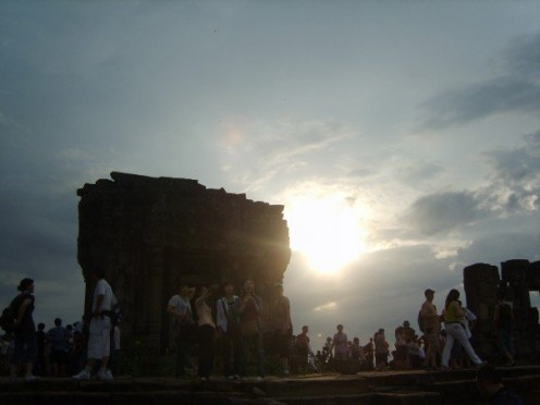 Sunset over the ruins.