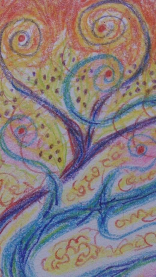 A strange Crayola Wax crayon drawing.
