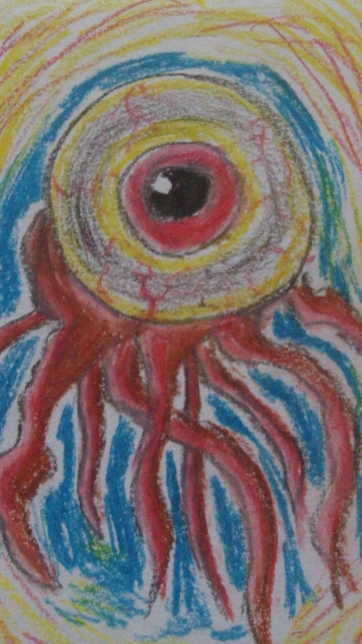 Large eyeball drawing drawn with oil pastels.