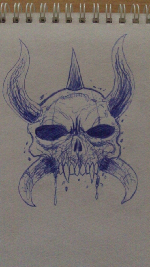 Bic blue skull with horns illustration.