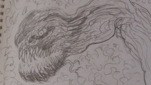 Demonic tree arm pencil drawing idea.