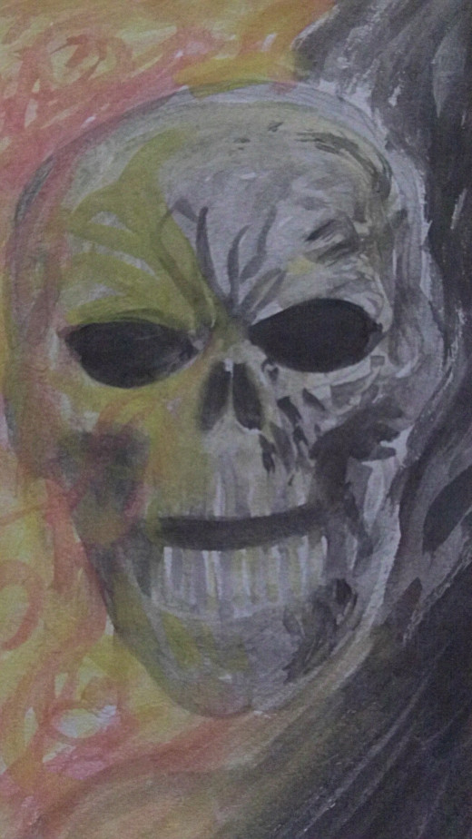 Watercolor flaming skull painting sketch.