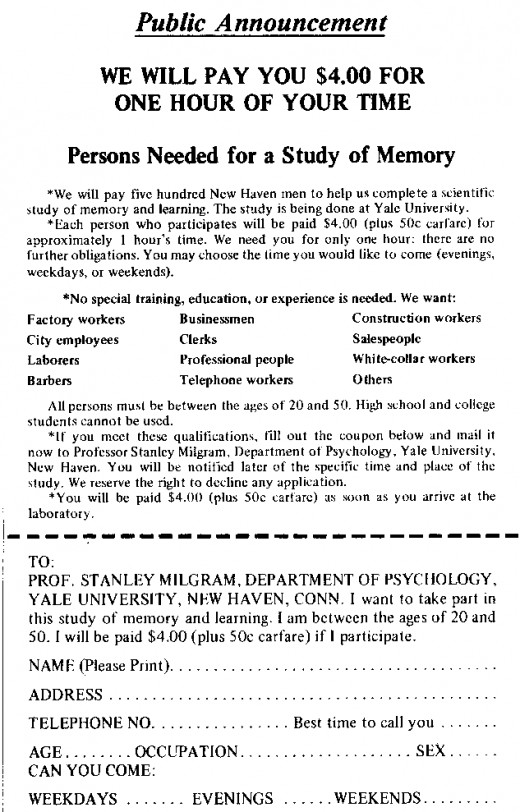 An advertisement seeking volunteers for the Milgram Experiment