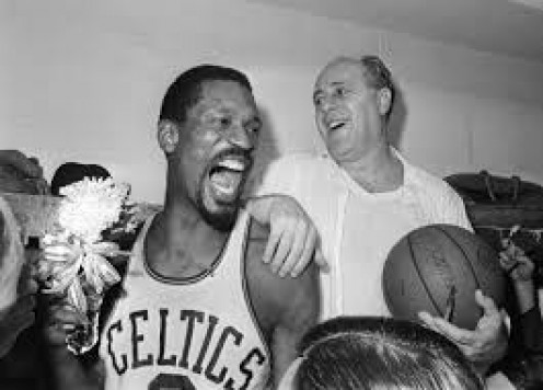 Bill Russell of the Boston Celtics is one the best NBA players in the history of the game. Whether it's a hook shot, rebound, dunk or block Russell was the go to guy.