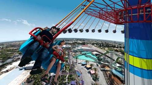 The WindSeeker is 301 feet tall and spins you in a circle in mid arias you dangle.