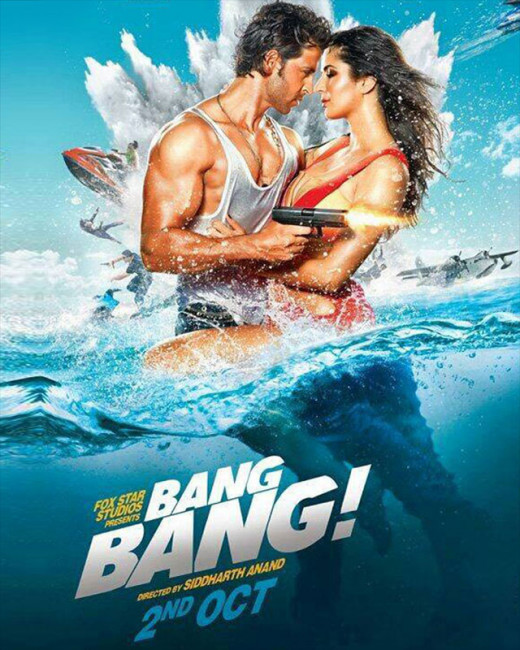 Biscoot Showtym brings you The official poster of Bang Bang featuring Hrithik Roshan and Katrina Kaif is out. Visit http://www.biscoot.com/showtym