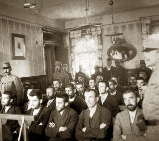 Conspirators on trial with Gavrilo Princip seated in front row center.