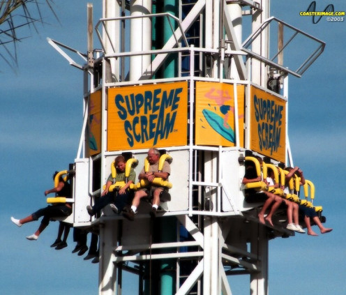 This thrill ride goes 45 MPH and it rises to over 300 feet tall.