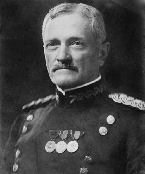 Pershing was a general officer in the United States Army who led the American Expeditionary Forces in World War I. General John Joseph Pershing head on shouldersPublic Domain