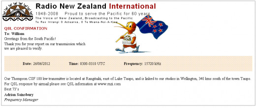 "An ""electronic"" e-QSL sent by email from Radio New Zealand."