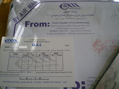 A QSL from Iran's state-run shortwave broadcaster (IRIB).