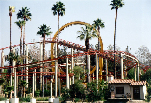 The Jaguar roller coaster takes thrill seekers on a coaster track around parts of the park.