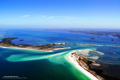 Aerial from 2012 showing Hurricane Pass. Caladesi Island is on the lower right, and Honeymoon Island center left.