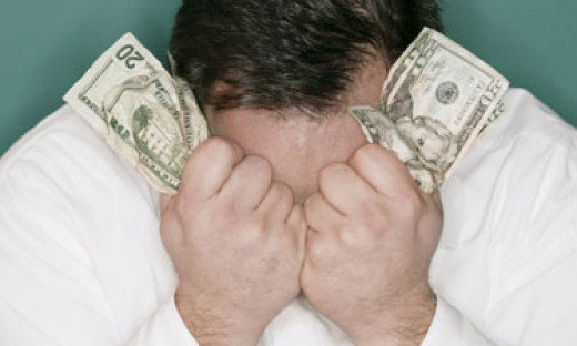 A man hving financial problems