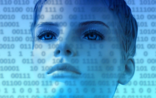 A WOMAN LOOKING AT BINARY NUMBERS