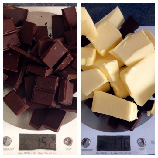 Weighing the Butter and Chocolate