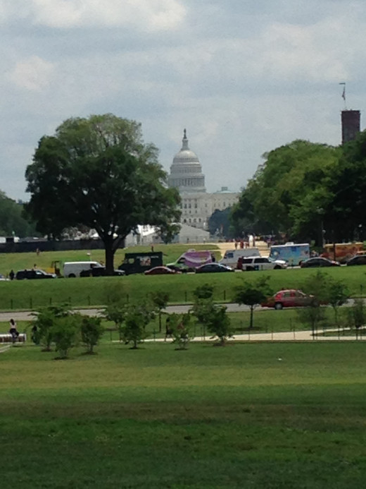LOOKING EAST FROM THE WASHINGTON MONUMENT TO THE CAPITOL BUILDING.