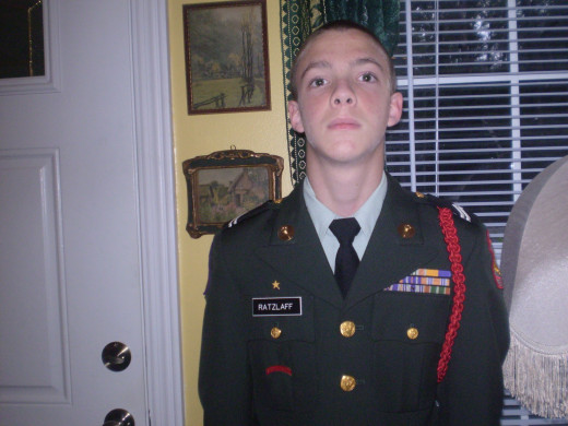"Christopher in early JROTC. Is this when he discovered the ""middle""?"
