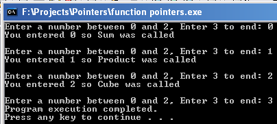 Using an Array of Pointers to Funtions