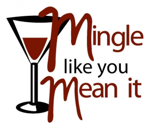 Mingle words and image of a wine glass