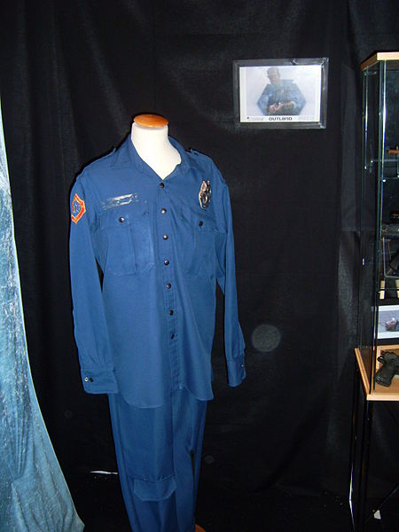 Blue overalls were used as a futuristic costume in the 1981 Outland film starring Sean Connery. (Image from commons.wikimedia.org)
