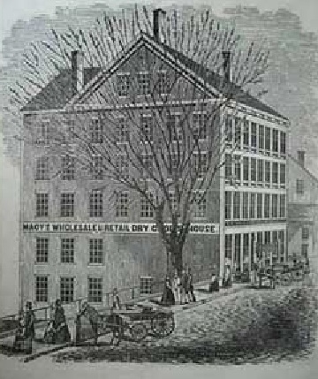 Macy's first store in 1851, Haverhill, Massachusetts. The store failed, unable to offer a credit system the local workers relied on and he filed for bankruptcy in 1856.
