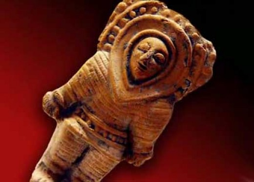Ancient astronaut-looking image - not bearing any resemblances to today's presumed archetypal alien species.