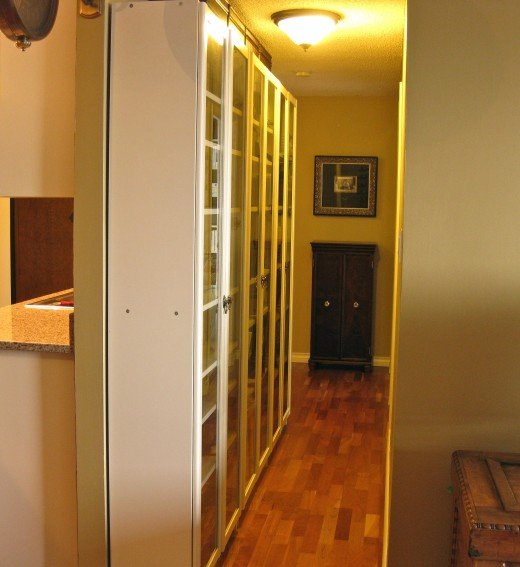 Shelving Down a Wide Hallway... (these IKEA Billy bookcases have lasted us over 15 years)