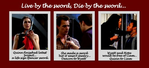 Deacon didn't understand the significance of Quinn's sword until he saw Wyatt's necklace.  Wyatt knew instantly his mother was about to make good on her threat...