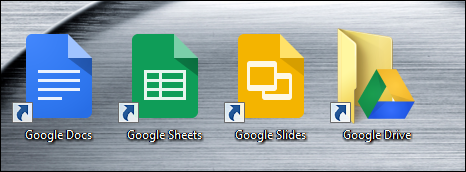 Google Docs applications of a Windows desktop