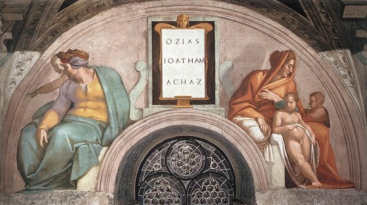 Uzziah, Jotham and Ahaz / by Michelangelo Buonarroti, Sistine Chapel y. Traditionally Jotham is the man in green on the left and the child with him is his son Ahaz.