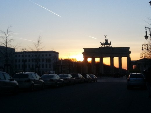The Brandenburg Gate at sunset