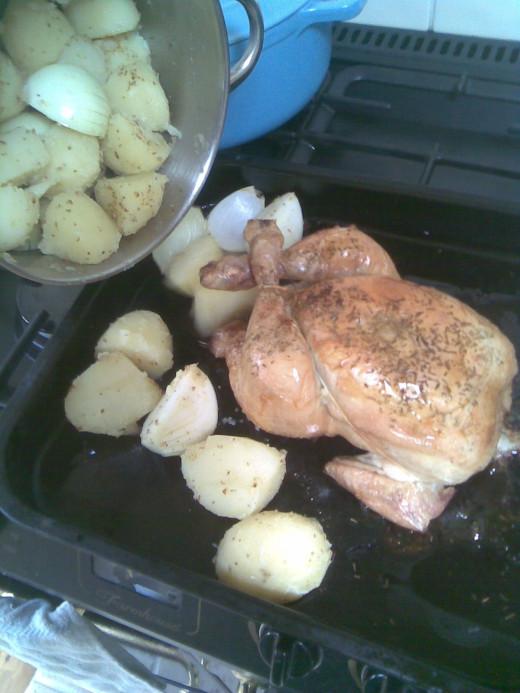Add to roasting tin