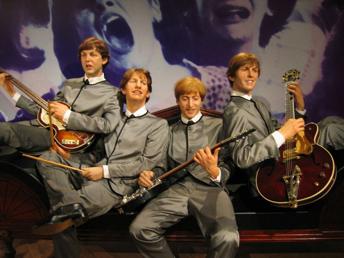 The 1960s Beatles, captured in wax in Hong Kong at Madame Tussauds.
