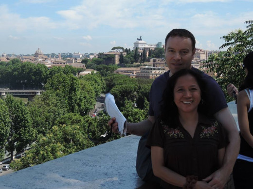 Filipinos abroad, sister Rani and brother-in-law Greg at Parco Savello, Aventine Hill, Italy