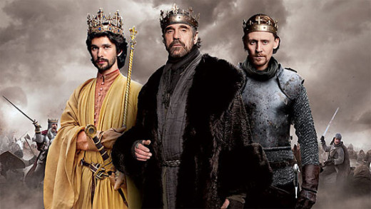 A promotional image for the show, featuring our three main kings: Richard II (Ben Whishaw), Henry IV (Jeremy Irons) and Henry V (Tom Hiddleston).