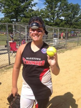 Cheyanne Nastasi proudly displays the game ball from her first career no-hitter Sunday in the BRL 16-year-old state tournament.