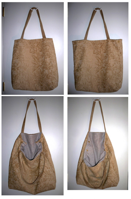 To show the extra large size, this bag's first photo includes the hinges on the door.  Note the bag's shape in the first photo and the top corner snaps in the following ones.
