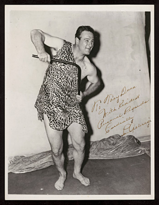 "Classic Lou Gehrig 1936 Signed ""Tarzan's Revenge"" News Service Photograph"