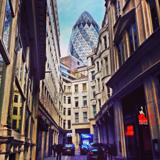 View from fenchurch street up towards The Gherkin. This was shot for one of my City clients and used on their new website.
