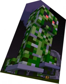 This is a statue of a Minecraft Creeper in Trove!