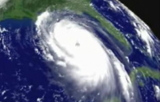 "The centre of the storm is the ""eye"". Katrina Hurricane had an eye as wide as 60 Km"