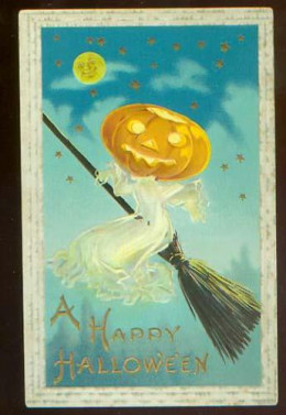 A vintage postcard for Halloween from the early 1900s.