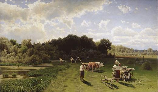 """Nikolay A. Sergeyev (1855-1919) """"Haymaking"""""""