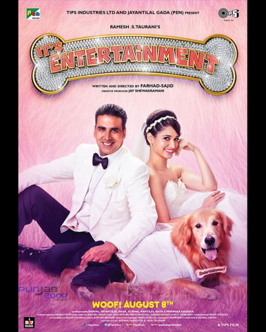 Here's the first look poster of Akshay Kumar starrer, It's Entertainment. The film also stars Tamannaah Bhatia and Krushna Abhishek. In the poster Akki is seen posing with a dog wearing a crown! Only on Biscoot Showtym.