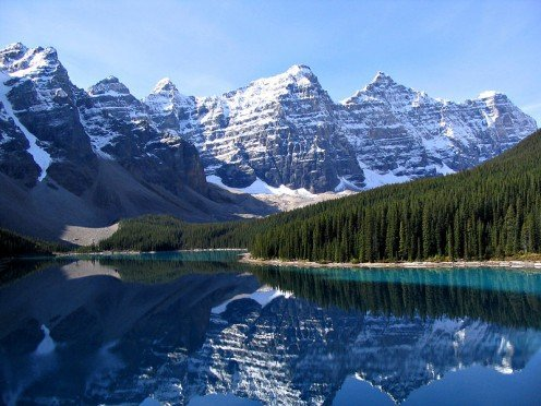 Valley of the Ten Peaks and Moraine Lake, Banff National Park.