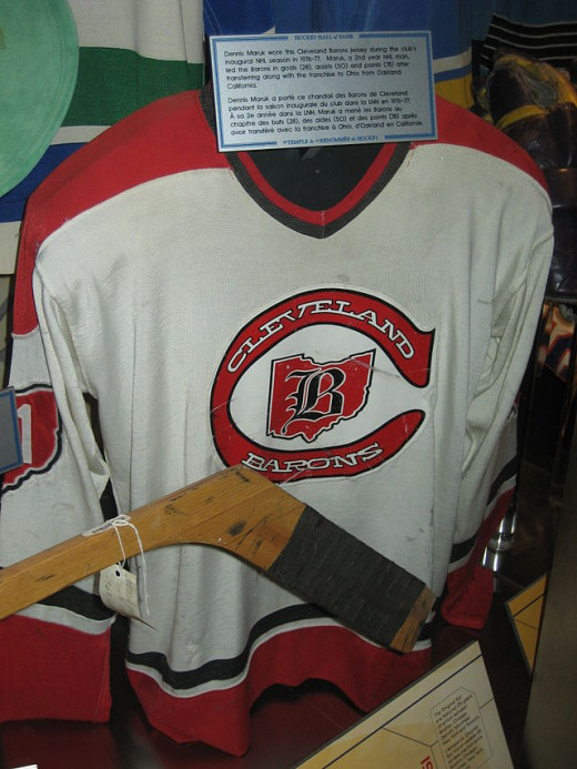 1976–77 Cleveland Barons home jersey Hockey Hall of Fame