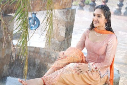 South Indian actress Sridevi posing wet and sexy in telugu movie