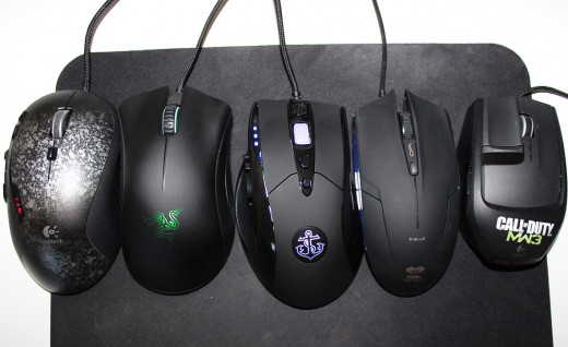 Here's a closeup look at the Anker gaming mouse (middle) compared to other popular gaming mice options including the Logitech G500(far left) and The Deathadder just to its left.